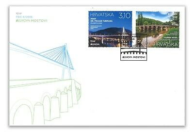 Croatia 2018 Two-Stamp Set First Day Cover FDC EUROPA Bridges