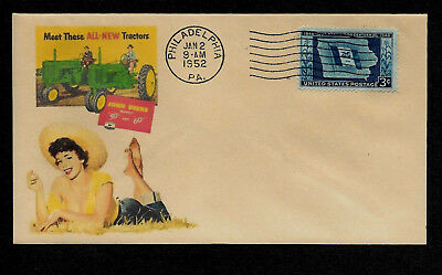 1952 John Deere Tractor & Pin Up Girl Featured on Collector's Envelope *OP565