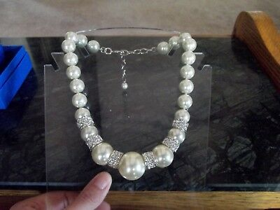 Necklace Huge Faux Pearl beads Pave clear crystals rhinestone Joan Boyce HSN QVC