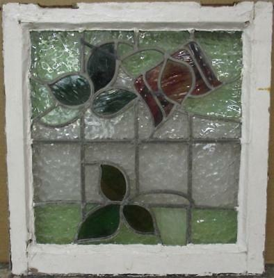 """OLD ENGLISH LEADED STAINED GLASS WINDOW Gorgeous Floral Design 21"""" x 22"""""""