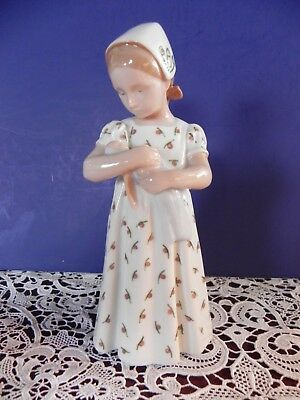 "B&G Bing Grondal ""Mary Girl With Doll"" Figurine 1721 Denmark Porcelain 8"""