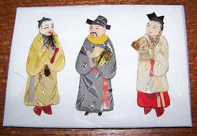 19th Century Chinese Paper Dolls Textile Art In Padded Silk and Paper