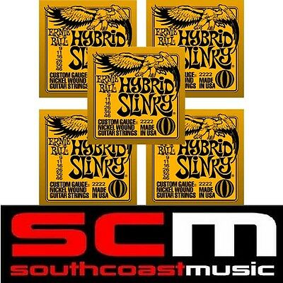 5 xSets ERNIE BALL HYBRID SLINKY ELECTRIC GUITAR STRINGS 9-46 E2222 USA MADE