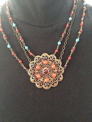 Cache Rosette Multi Strand Necklace Brass Red Turquoise Filagree Western