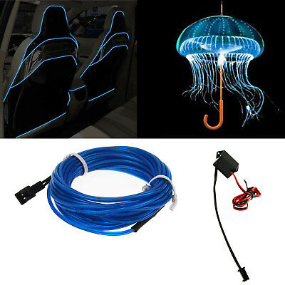 2M 6.56FT Neon EL Wire Blue LED Light Glow Strip Rope Tube + 12V Controller SS17
