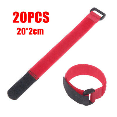 20pcs Red Self Adhesive Hook Loop Cable Ties Fastener Strap Cord Organizer 20cm