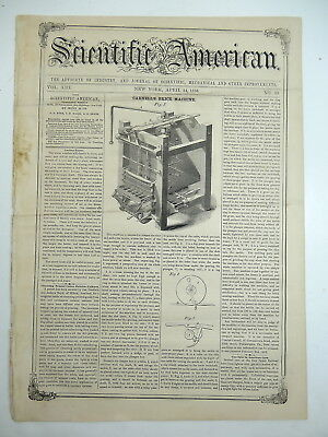 APPLE PARING SLICING, Bricks, Portable Fence, Circular Saw Mill, Old Mag. 1858