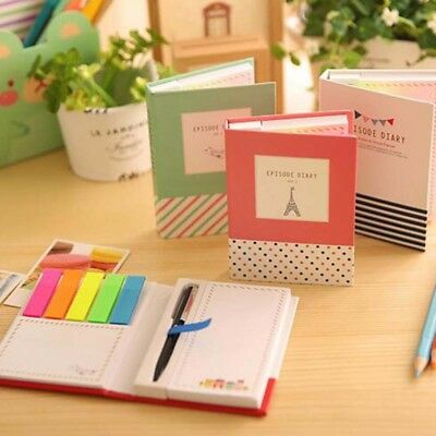 New 1pc Sticky Notes Notebook with Pen Memo Bookmark Paper Sticker Notepad Cute