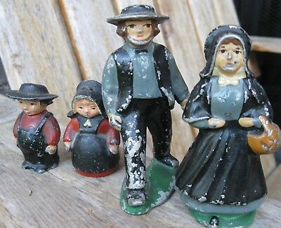 Vintage FARMHOUSE PRIMITIVE Metal Amish Figurines Salt/Pepper SHABBY Antique