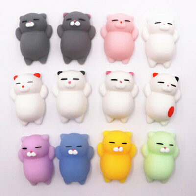4Pcs Cute Cat Squeeze Healing Fun Kids Kawaii Animal Stress Reliever Toys Decor