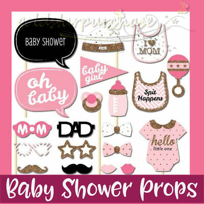 20PCS Baby Shower Photo Booth Props Little Lady Girl New Born Party in Pink Cute