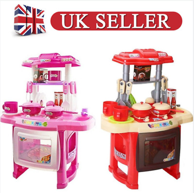 Kids Childrens Kitchen Play Set Food Cooker Pans Role Pretend Game Toy Gift New