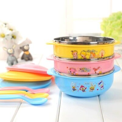 Baby Feeding with Lid Spill Proof Anti-scald Stainless Steel Kids Bowl Spoon Set