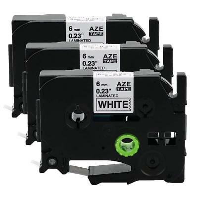 3PK TZ 211 TZe-211 Black on White 6mm Label Tape P-Touch Compatible for Brother