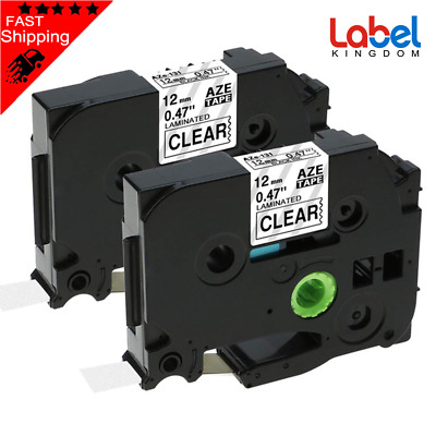 2 PK TZe-131 TZ131 Compatible for Brother P-touch Label Tape Black on Clear NEW