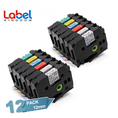 12PK TZe-131 TZe-231 431 531 631 731 Label Tape 12mm Compatible Brother P-Touch