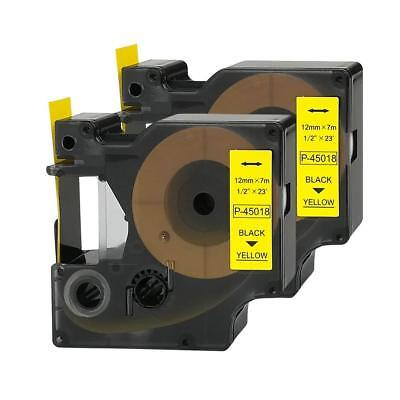 2PK 45018 Black on Yellow Label Tape DYMO D1 LabelManager 160 280 300 12mm NEW