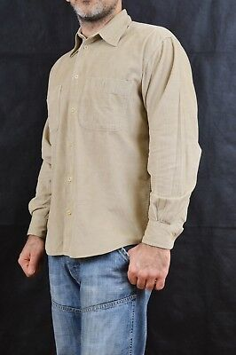 Moschino Vintage 80s Corduroy Beige Brown SHIRT Oversized Made in ITALY S FAB