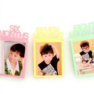 1st Birthday Recording 1-12 Month Photo Banner Garlands Monthly Bunting Decor 6A