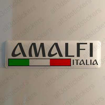 """Amalfi Italy Sticker 4.70x1.18"""" Domed Resin 3D Flag Stickers Decal Vinyl"""