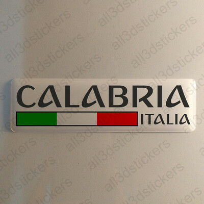 """Calabria Italy Sticker 4.70x1.18"""" Domed Resin 3D Flag Stickers Decal Vinyl"""
