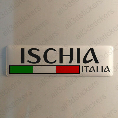 """Ischia Italy Sticker 4.70x1.18"""" Domed Resin 3D Flag Stickers Decal Vinyl"""
