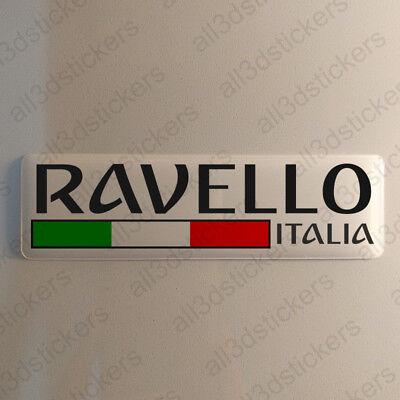 """Ravello Italy Sticker 4.70x1.18"""" Domed Resin 3D Flag Stickers Decal Vinyl"""