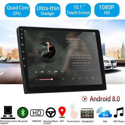 2DIN Car Stereo 10'' Android 8 16G Quad Core Touch Radio WIFI MP5 Player GPS