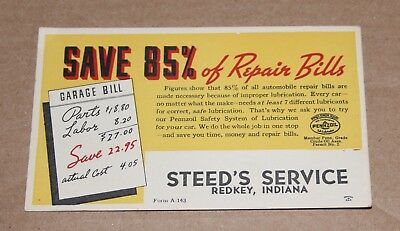 Pennzoil Service Reminder Card Postcard Steed's Service Redkey IN. Free Ship