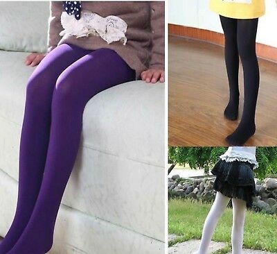 Kids Girls Plain Colours Rich Cotton Warm Winter Pantyhose Tights 2 to 14 Years