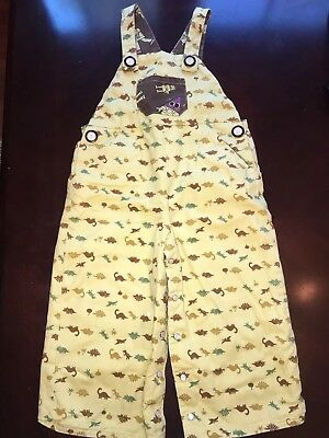 Vintage 2T Reversible Overalls Right Bank Babies Dinosaurs & Robots Made In USA
