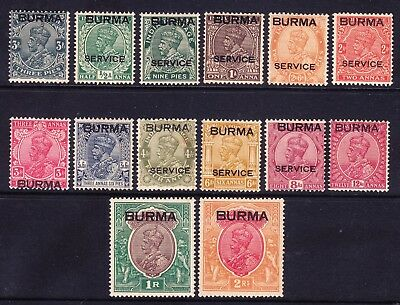 BURMA Indian Stamps 1937 opt GV SG1/14 set to 2rs m/m some gum toning. Cat £170