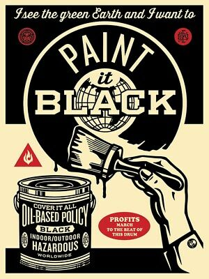 """Shepard Fairey """"Paint It Black"""" Brush OBEY Giant Signed Screen Print Poster Art"""