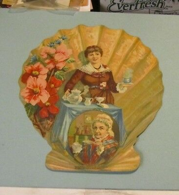 "1884 Great Atlantic & Pacific Tea Co. Shell Girl 9"" Die Cut Victorian Trade Card"