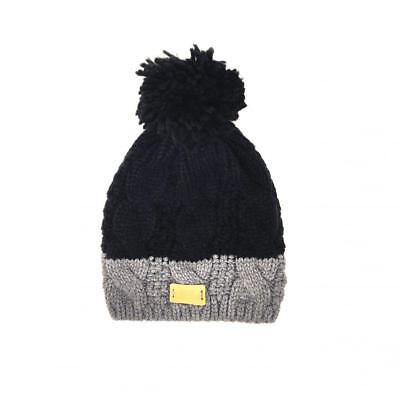 4a0a2464eb57c Aran Traditions Unisex Winter Warm Knitted Style Beanie Hat - Black/Grey