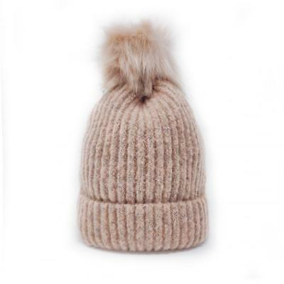 caf1335874f2a Aran Traditions Ladies Winter Warm Knitted Style Beanie Hat - Dusky Pink