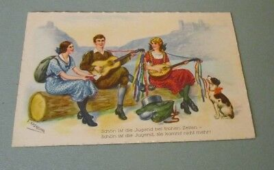 Vintage Friedrich Kaskeline German Youth Playing Instruments Color Postcard