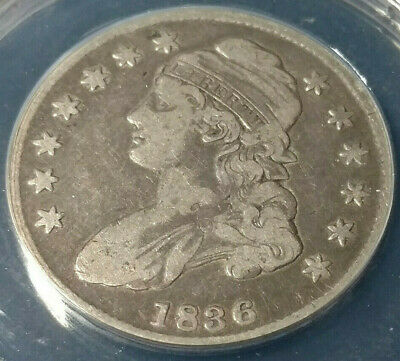 Nice Circulated 1836 CAPPED BUST SILVER HALF DOLLAR ANACS VF 20