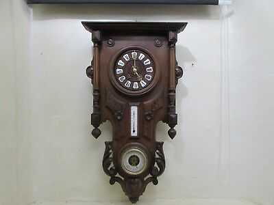 Antique Victorian French Walnut Barometer Thermometer Wall Clock For Repair