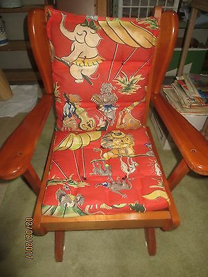 1950-60 HARTSHORN MAPLE PLATFORM CHILD ROCKER w/Original Cushions - VGC