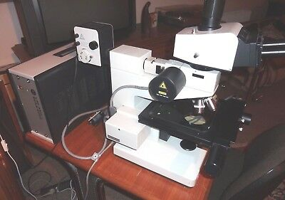 Leitz / Leica Ergolux Microscope With Programable Scan Stage +Keyboard, Laser Af