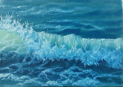 "Art,oil painting,5""×7""sunny day, wave""Ocean painting,surf,marine,seascape"