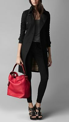 Burberry Pebbled Grain Leather Ashby Hobo Shoulder Tot Bag Cadmium Red   1 9d6c3b6f280c5