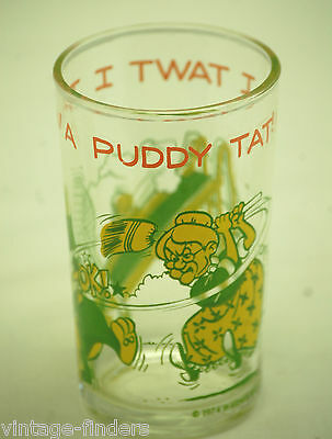 1974 Tweety Bird Sylvester & Granny Glass Cup Tumbler Animation Art Character