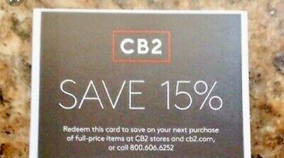 CB2  1coupon of 15% off entire Order( Include Furnitures