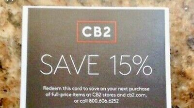 CB2  1coupon of 15% off entire purchase