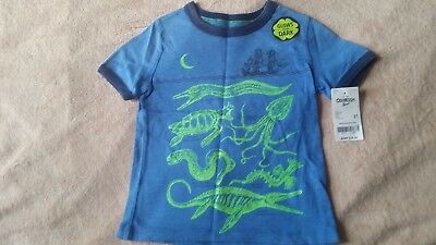 Oshkosh Toddler Boy T-Shirt Sz.3T Sea Creatures,blue,glows In The Dark, Cotton