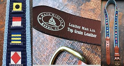 Vtg Blue Flags Boating Ribbon Canvas Leather Man Belt Brass Buckle Usa-Made 36