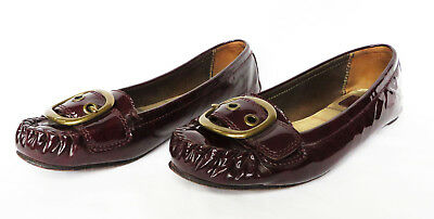 3e4a2963f3a4 COACH Ornette Womens Brown Buckle Patent Leather Ballet Flats Loafers Shoes  6.5