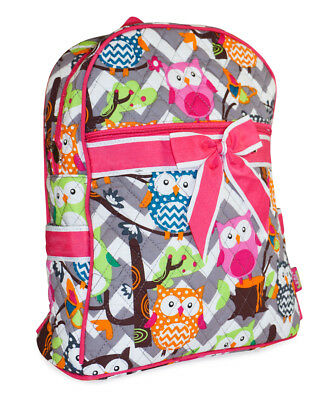 Womens Girls Teens Cute Owl Quilted Backpack Purse Handbag Pink Chevron Grey